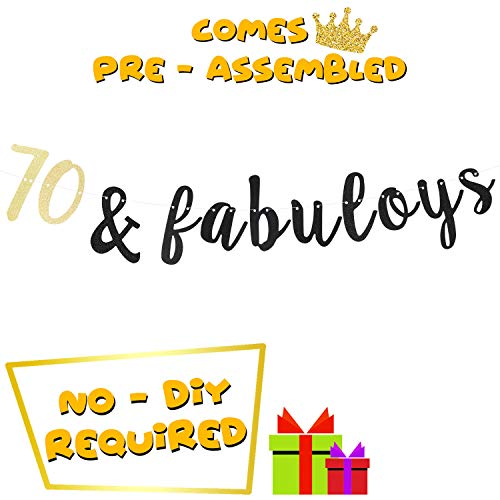 70s Themed Cake Ideas (70th Happy Birthday Party Decoration 70 & Fabulous Birthday Banner Cheers to Seventy Years Old Gift Idea)