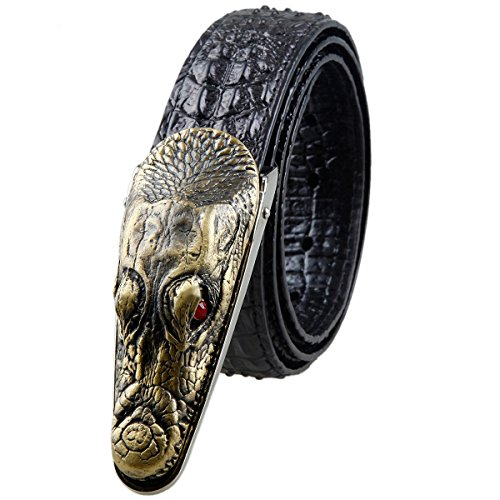 [Moonsix Leather Belts for Men 35mm Alligator Crocodile Embossed Dress Belt with Plaque Buckle,Style 1-Black] (Leather Crocodile Belt)