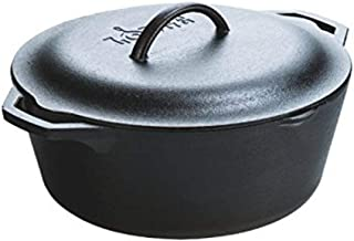 product image for Lodge Pre-Seasoned Dutch Oven With Loop Handles and Cast Iron Cover, 7 Quart, Black