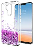 LG G7 ThinQ Case,LG G7 Case SunStory Luxury Fashion Design with Moving Shiny Quicksand Glitter and Double Protection with PC layer and TPU Bumper Case for LG G7 ThinQ Phone (Purple)