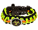 Zombie Paracord Bracelet - Biohazard (Survival Kit Series) Emergency Gear for Hiking, Camping, Climbing and other Outdoor Sports or Just Fun (Fire Starter and Safety Whistle)