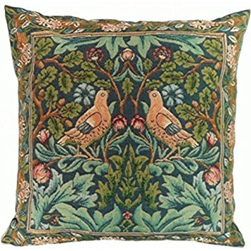 (Woven European jacquard tapestry cushion covers. Brother Bird 1 - William Morris. 19 x 19