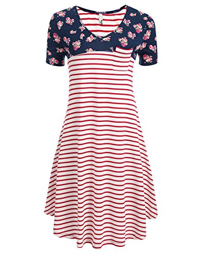 Zeagoo Tunic Shirt Long T Print Floral Swing Women's Striped Tunic Sleeve Striped Red Short Wine Dress Dress 0qvx0HwI