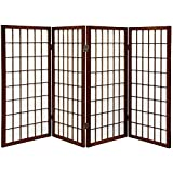 wood 5 panel - ORIENTAL FURNITURE 3 ft. Tall Window Pane Shoji Screen - Walnut - 4 Panels