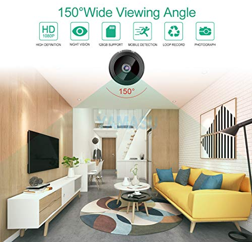 YAMASU Mini Camera 1080P WiFi Wireless Cameras Portable Cam with Night Vision Motion DetectionSecurity Surveillance Indoor Outdoor