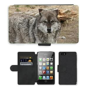 Super Stella Cell Phone Card Slot PU Leather Wallet Case // M00144415 Wolf Animal Yellowstone Mammal // Apple iPhone 4 4S 4G