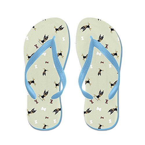 CafePress Min Pin Bows and Bones Stone - Flip Flops, Funny Thong Sandals, Beach Sandals Caribbean Blue