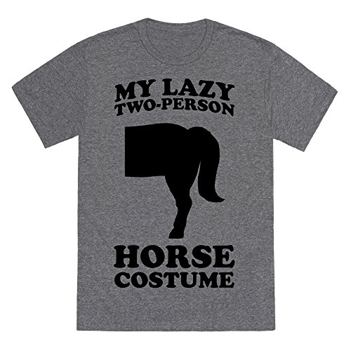 My Lazy Two-Person Horse Costume (Butt) Heathered Gray Medium Mens/Unisex Fitted Triblend Tee by (Two Person Halloween Costumes Funny)