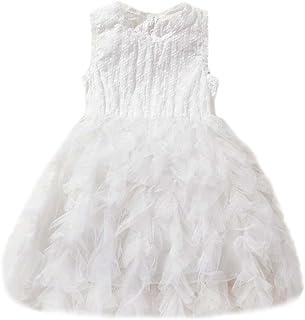 feiXIANG Bambino Ragazze Abiti Ricamato Tinta Unita Gonne Vestiti della Formale Matrimonio Vestito da Principessa Estivi Abito Senza Spalline Mini