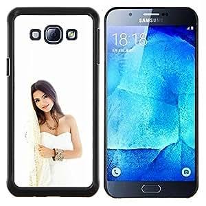 Mujer blanca- Metal de aluminio y de plástico duro Caja del teléfono - Negro - Samsung Galaxy A8 / SM-A800