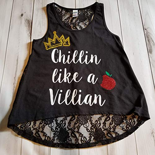 Girls Chillin like a Villian Glitter Sparkle Crown Apple Birthday Black Lace Hi Low Tank Top Small Medium Large 7-16 -