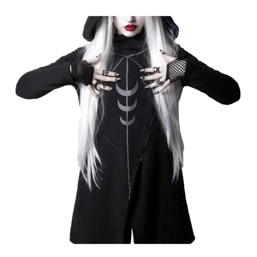 Hibote Rosetic Hoodies Gothique Casual Cool Chic Noir Plus La Taille Femmes Sweat-Shirts en Vrac /À Capuche Imprimer Plain Punk Hoodies