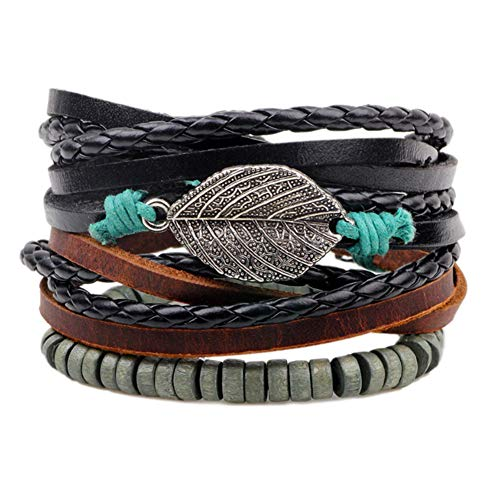 Multi PCS Mixed Wrap Leather Wristbands Bracelets and Wood Beads Weave Bracelet Set for Men Women Adjustable Beads Braided Leather Friendship Charm Bracelet for Men