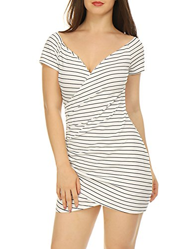 Striped Crossover (Allegra K Women's Striped Crossover V Neck Ruched Wrap Bodycon Dress White XS)