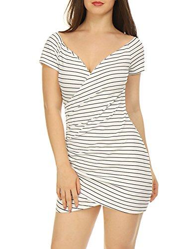 Allegra K Women's Striped Crossover V Neck Ruched Wrap Bodycon Dress White XL