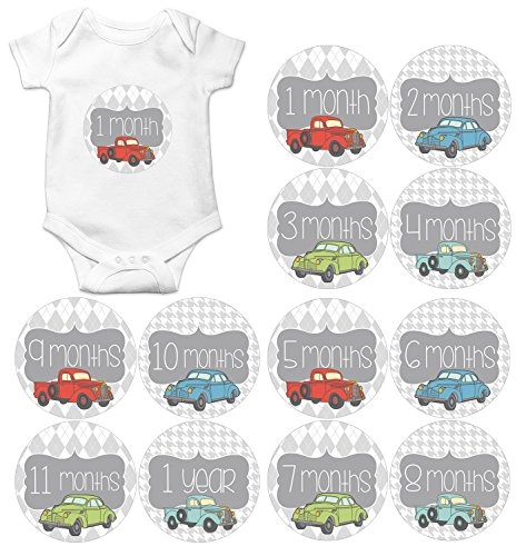 Gift Set of 12 Round Keepsake Photography Monthly Baby Stickers with Vintage Cars and Trucks MOSB184
