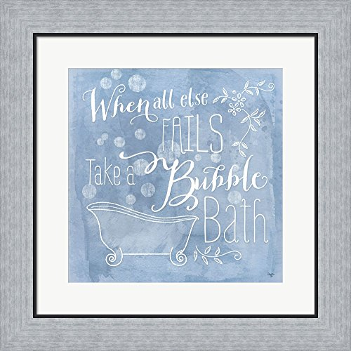 Great Art Now Take a Bubble Bath by Mollie B. Framed Art Print Wall Picture, Flat Silver Frame, 19 x 19 inches (Bubble Mollie)