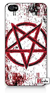 Distressed Look Pentagram Symbol with Splatter iPhone 5 Quality Hard Snap On Case for iPhone 5/5s - AT&T Sprint Verizon - White Case