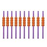 MCpinky 10 PCS Halloween Mini Pumpkin Plastic Drinking Straws Purple Orange Funny Straws for Halloween Party
