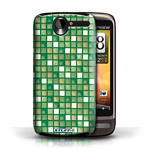 Etui / Coque pour HTC Desire G7 / Vert/Brun conception / Collection de Carreau Bain
