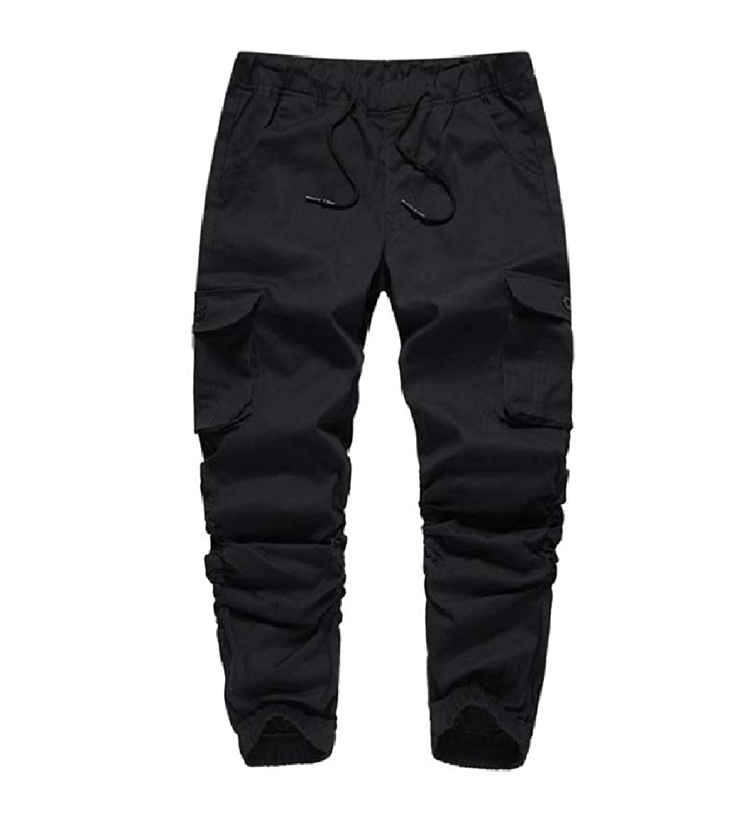 AngelSpace Mens Comfy Dungarees Relaxed-Fit Pockets Outdoor Wild Cargo Pants