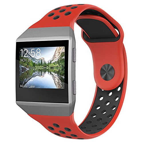 Red Perforated Metal (Fitbit Ionic Band, UMTELE Two-toned Perforated Replacement Strap Breathable Accessory Wristband with Quick Lock&Release Buckle for Fitbit Ionic Smart Watch, Small, Red/Black)