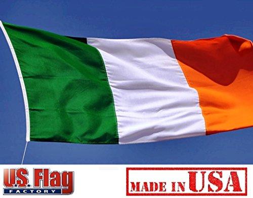 US Flag Factory 3'x5' Ireland Irish Flag (Sewn Stripes) Outdoor SolarMax Nylon - Made in America - Premium Quality