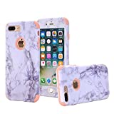 iPhone 7 Plus, 7 Plus Case, VPR Marble Stone Pattern Design 3 in 1 Hybrid Cover Hard PC Soft Silicone Rubber Heavy Duty Shock Absorbing Protective Defender Case for iPhone 7 Plus