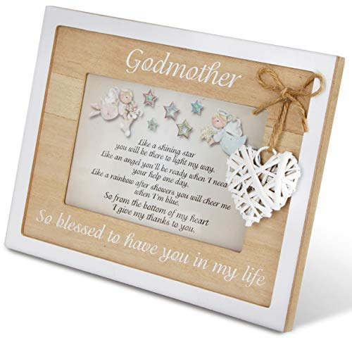 Godmother Frame 4x6 Perfect Godmother Gift from Godchild for Christening Baptism Christmas Beautiful Quality Picture Frame Keepsake Godparent Gifts]()
