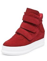 D2C Beauty Women's High Top Suede Velcro Hidden Wedge Sneaker Shoes