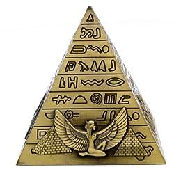 Metal Egyptian Pyramids Figurine Pyramid Building Statue Home Office Desktop Decor Gift Souvenir (Bronze)