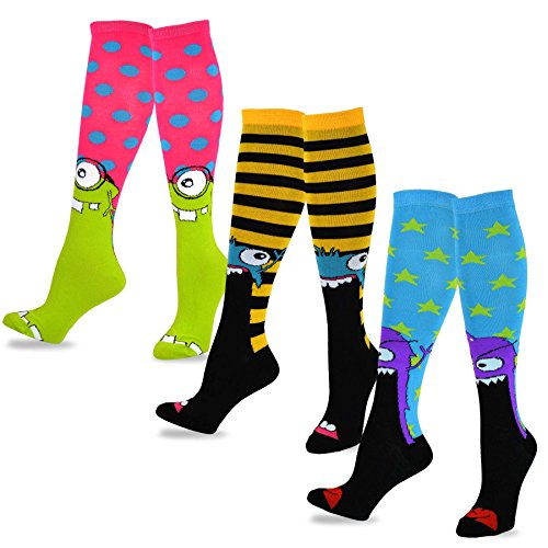 Review TeeHee Novelty Cotton Knee High Fun Socks 3-Pack for Junior and Women (Monster) sock size 9 – 11