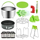 KMIKE 15 Pcs Instant Pot Accessories 6,8 Qt - Pressure Cooker Accessories Set Steamer Basket, Springform Pan, Egg Bites Mold, Dish Plate Clip, Egg Steamer Rack, Oven Mitts, 3 Cheat Sheet Magnets