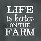 Life Is Better On The Farm Novelty Square Aluminum Metal Sign Charcoal Background White Lettering