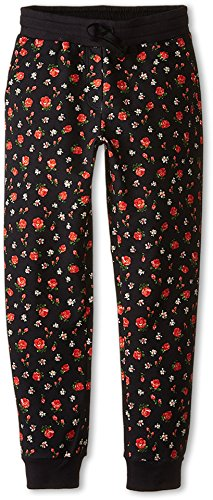 Dolce & Gabbana Kids Girl's Back To School Floral Sweatpants (Big Kids) Black/Rose Print 12 Big Kids X One Size by Dolce & Gabbana