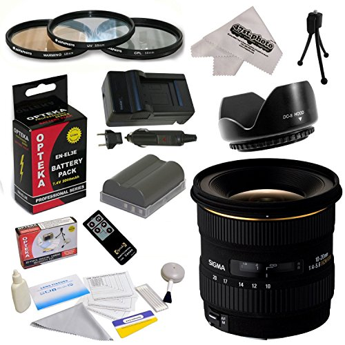 - Sigma 10-20mm f/4-5.6 EX DC HSM Autofocus Lens For the Nikon D700 D300S D300 D200 D100 D90 D80 D70 D70s D50 - Includes 77MM 3 Piece Pro Filter Kit (UV, CPL, FLD) + Replacement Battery Pack for the Nikon EN-EL3E 2000MAH + 1 Hour AC/DC Battery Charger + Wireless Shutter Release Remote Control + Deluxe Lens Cleaning Kit + LCD Screen Protectors + Mini Tripod + 47stphoto Microfiber Cloth Photo Print !