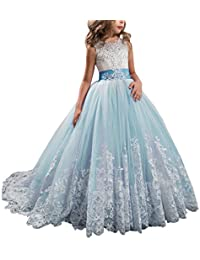 Princess Lilac Long Girls Pageant Dresses Kids Prom Puffy...