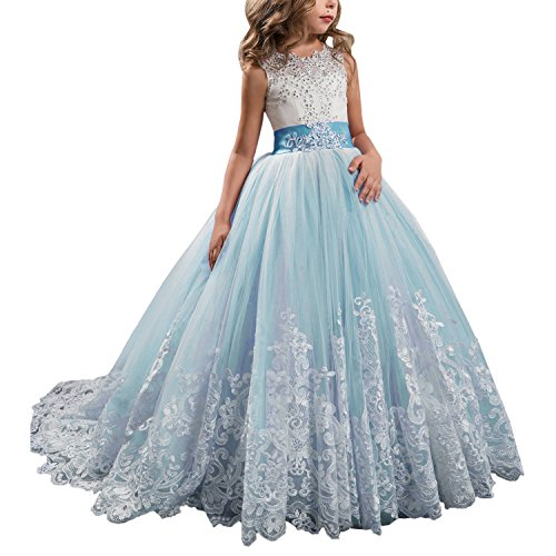 WDE Princess Blue Long Girls Pageant Dresses Kids Prom Puffy Tulle Ball Gown US 6