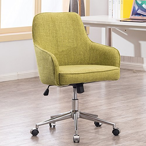 Home Office Swivel Desk Chair Upholstered Fabric Task Chair, Metal Base w/z Casters, Adjustable Height Tilt Control Armchair Couch Seat Office or Living or Conference room Beauty Nail Salon (Caster Swivel Base)