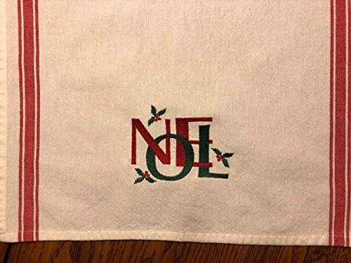 Christmas dish towel with NOEL embroidered, red striped toweling, retro look