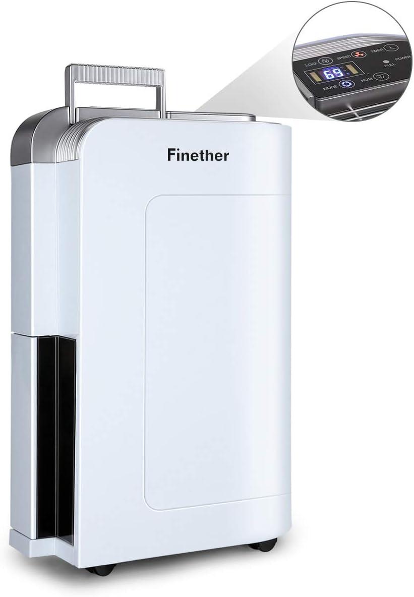 Finether Deshumidificador 12L/Día Digital Secador Multimodos Purificador de Aire Silencioso ≤45dB 1-24 Horas de Encendido/Apagado automático (Ideal para Casa, Baño, Oficina, etc) Blanco