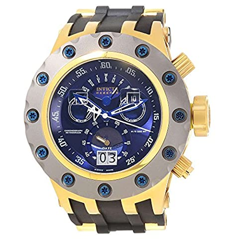 Invicta Excursion Reserve Chronograph Blue Dial Black Polyurethane Gold Ion-plated Accents Mens Watch (Invicta Reserve Excursion Gold)