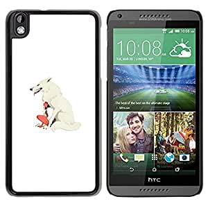 LECELL--Funda protectora / Cubierta / Piel For HTC DESIRE 816 -- White Wolf & Girl --