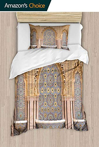 shirlyhome Hotel Collection Soft Luxury Bed Sheets Breathable Typical Moroccan Tiled Fountain in The City of Rabat Near The Hassan Warm 2 Piece Set - King (Best Hotels In Rabat)