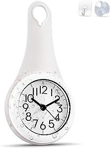 Biramba Wall Clock Kitchen Clock Household Bathroom Waterproof Small Digital Wall Clock Silent Home Decor Shower Clock with Sucker (White)