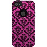 CUSTOM Black OtterBox Commuter Series Case for Apple iPhone 5 / 5S / SE - Pink Black Damask Pattern
