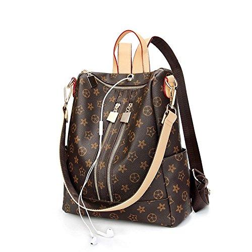 Personality Backpack Crossbody Ladies Bags Bag PU Fashion Capacity Women Handbags Brown Medium Brown Classic Print Large Sized TqRx8
