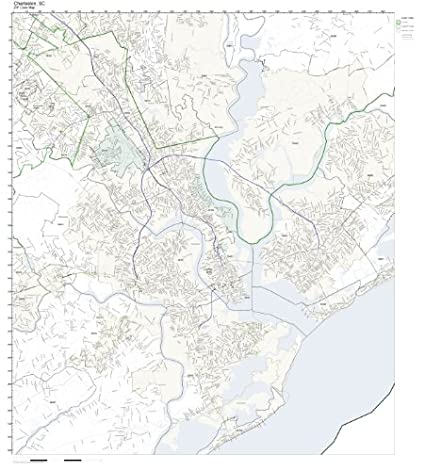 Amazon Com Zip Code Wall Map Of Charleston Sc Zip Code Map