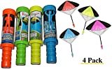 Toys+ 4 Pack Tangle Free Throwing Parachute Man with Large 20'' Parachutes! Blue, Orange, Green and Yellow for Kids and children