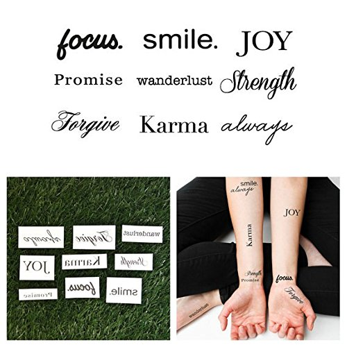 Tattify Assorted Word Temporary Tattoos - Lifes Diamonds (Set of 18 Tattoos - 2 of each Style) - Individual Styles Available - Fashionable Temporary Tattoos - Long Lasting and Waterproof